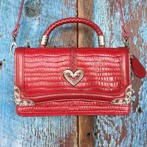 Candace Christian Red Leather Crossbody Purse